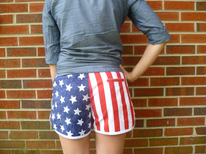 Patriotic American Flag Prefontaine Shorts - back close up by Hey, It's SJ