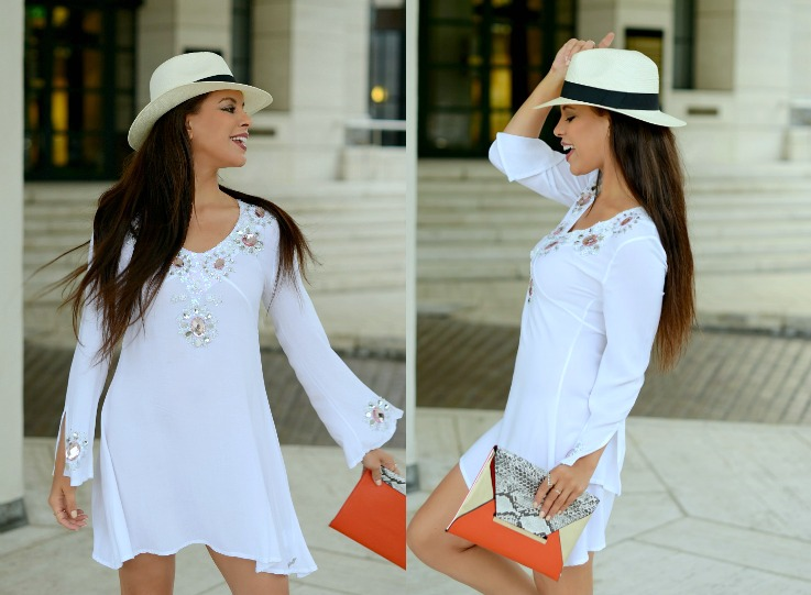 Collage Jacky Luxury dress, Supertrash bag, Panama hat