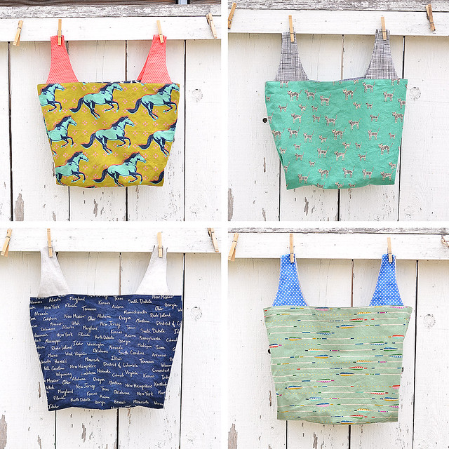 Cotton and Steel Reusable Grocery Bags