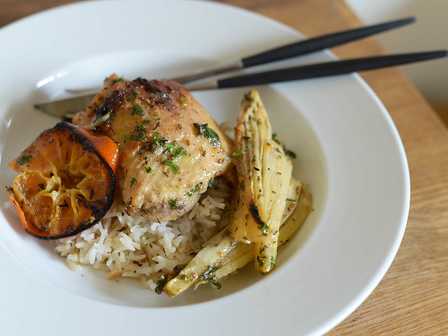roasted chicken with clementines and fennel