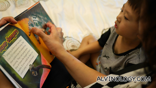 Mama Sally eagerly tries out the contact lenses by reading to grandson Asher
