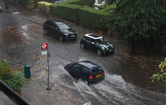 Ex-Hurrcane Bertha Floods Streets in West London