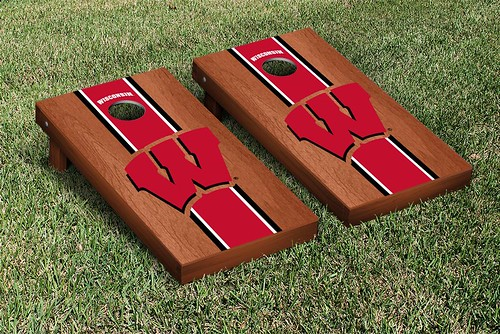 Wisconsin Badgers Cornhole Game Set Rosewood Stained Stripe Version