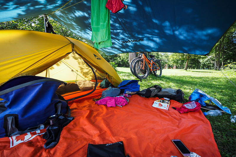 An idyllic campsite at the Sunagarekawa Auto-campground in Hidaka, Hokkaido, Japan