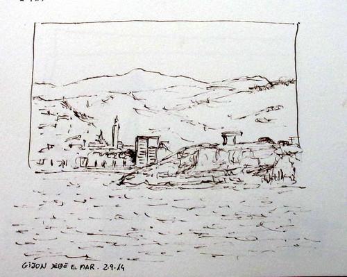 Viaje en barco (4) Gijón desde el mar