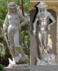 Donatello (c.1386-1466) - David (date disputed) - comparison between marble replica in Temperate House, Royal Botanic Gardens, Kew, Surrey, and plaster cast in Victoria & Albert Museum, London, front