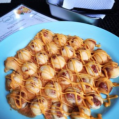Black Pepper Spam & Cheese HK style egg waffles from @eggitwaffleshop in Kapitolyo.