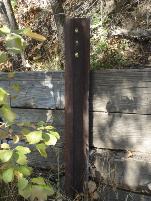 Railroad Rails used as supports along the foot path in Kendrick Park 9-21-14 (8)