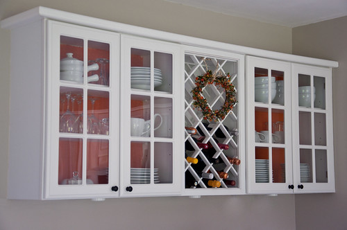Add Color to Glass Door Cupboards with Fabric