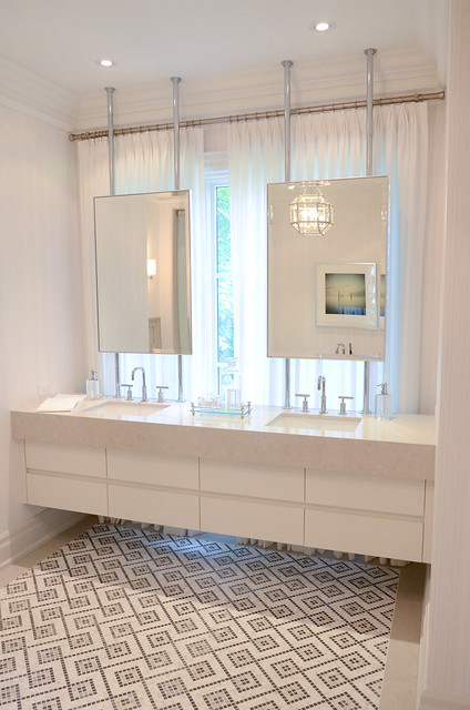 Grand white Master bathroom. Princess Margaret Showhome in Oakville
