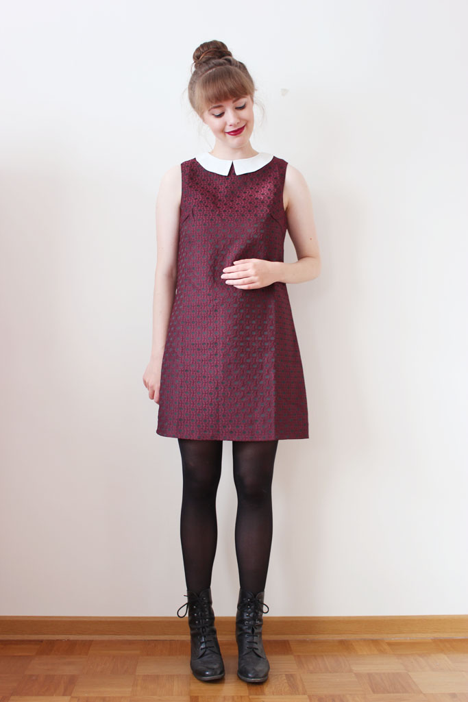 weinrotes Kleid - retro vintage blogger deutschland - shift dress winered