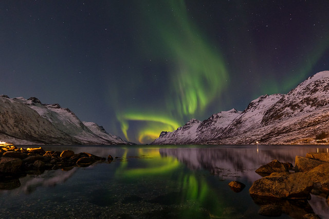 Aurora in the fjord