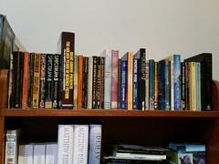 shelf of SF books