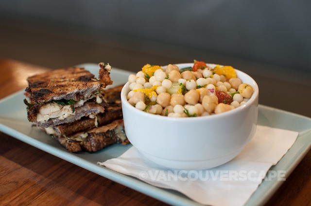 Giovane Cafe's Genovese Panini, Pearl couscous + chick pea salad