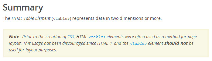 A friendly reminder about <table> from MDN.