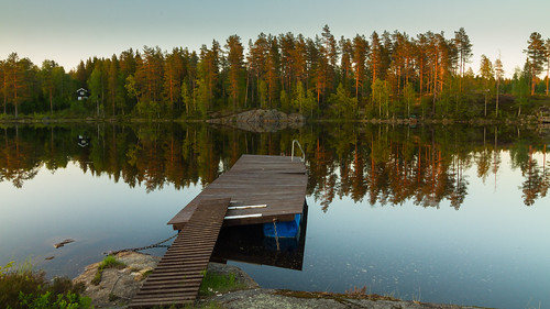 sunset lake water forest reflections landscape evening pier cabin woods jetty pines høljøren
