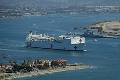 The Military Sealift Command hospital ship USNS Mercy (T-AH 19) transits San Diego Bay June 16. (U.S. Navy/MC3 Huey D. Younger Jr.)