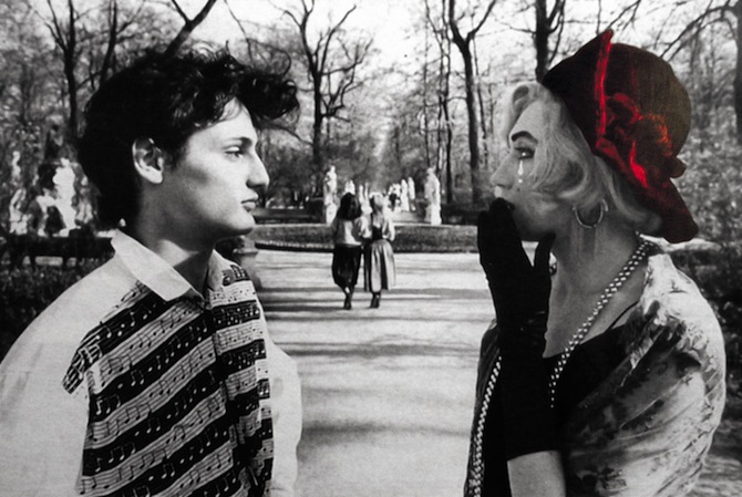 Vladislav Mamyshev-Monroe. Tragic Love. 1993 Black & white photo, hand-colored.  Courtesy of the Artist's estate.