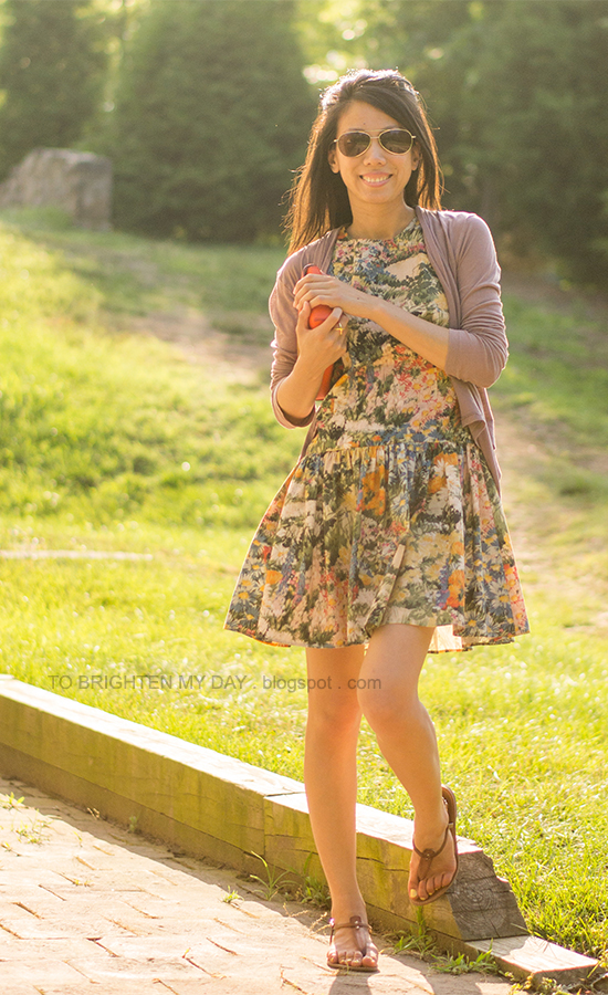open cardigan, wildflower dress, orange clutch