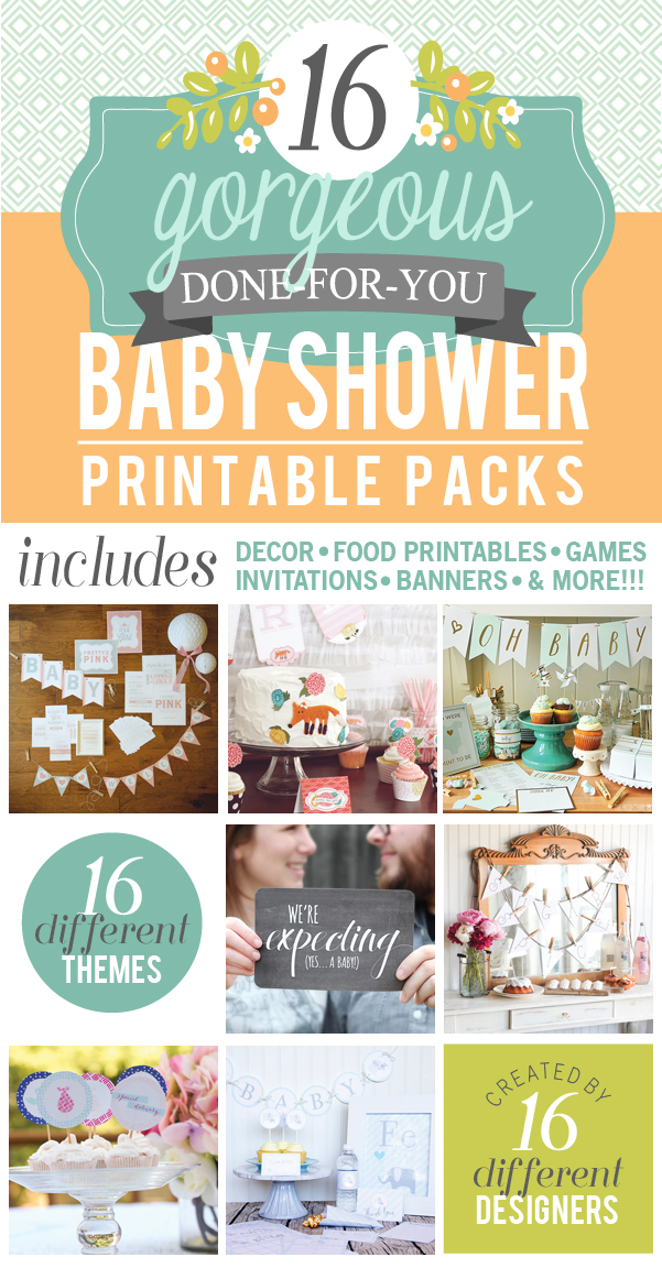 16 gorgeous baby shower printable packs, includes decor, food printables, games, invitations, banners and more