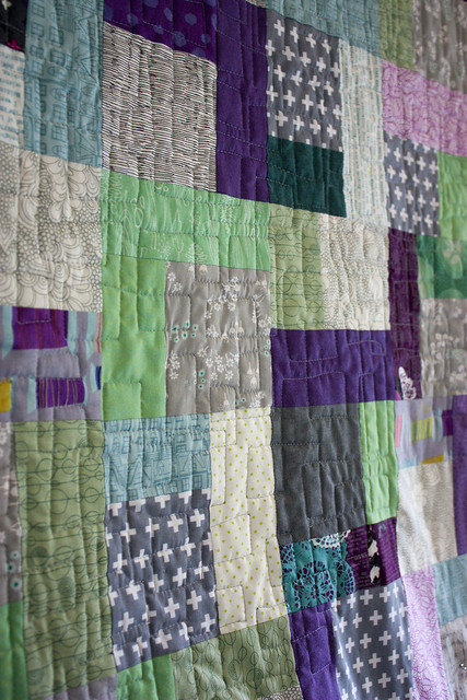 Quarter Square Triangle Quilting in progress