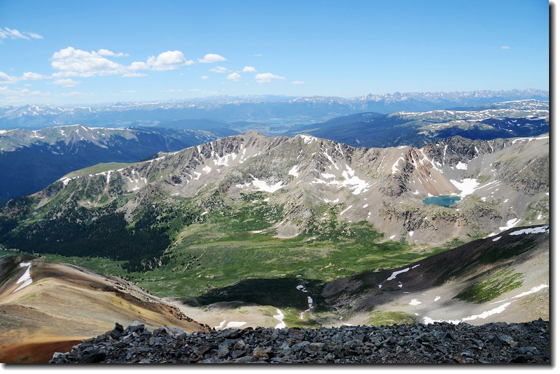 View to West from Grays peak,  Dillon Reservoir can be seen in the distance 1