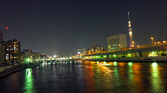 Tokyo Skytree, view from Kuramae-bashi bridge on Sumida-gawa river.