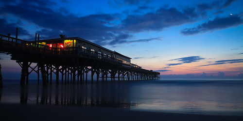 moon seascape water silhouette sunrise pier waves florida panoramic atlanticocean crabbyjoes daytonabeachshores