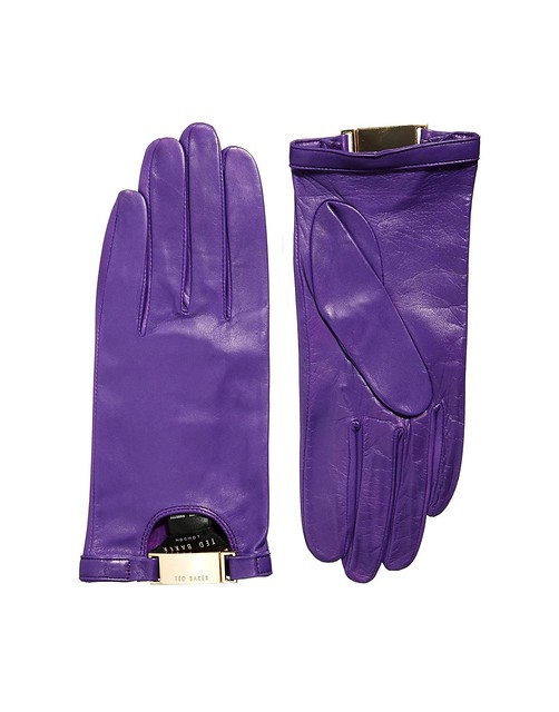 purple driving gloves