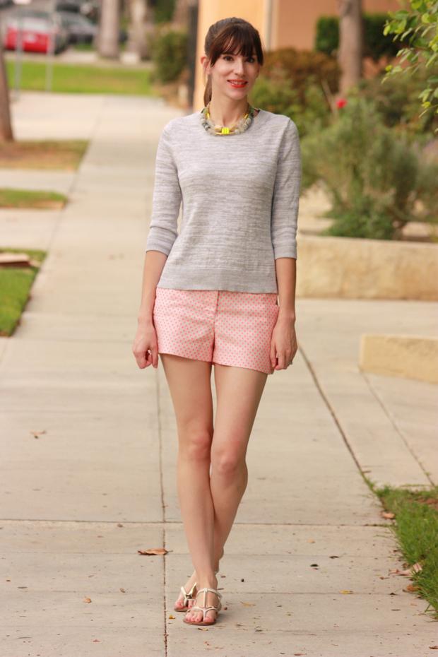 neon, polka dot shorts