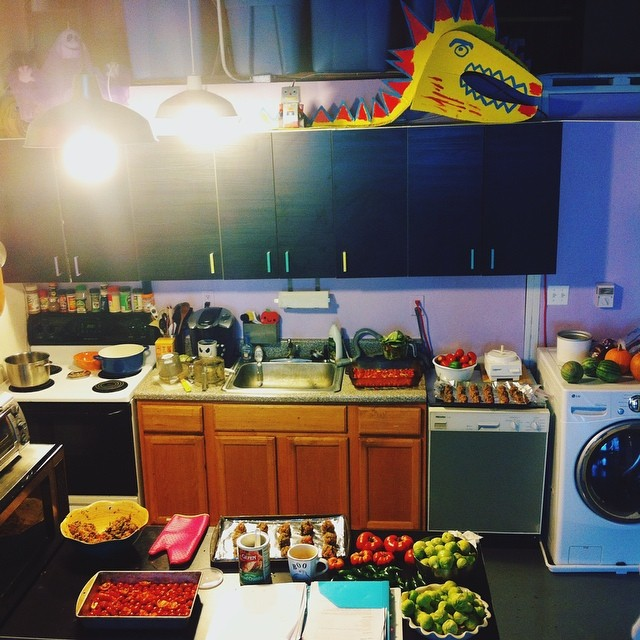My kitchen, where the magic happens.  I put today aside to catch up with our vegetables.  Sauces, salsas, casseroles, purées will be made, frozen and canned to last us months!  Already a few batches made, now back to work.  #kitchen #home #vegetablegarden