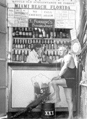 Man with a photo booth drink during prohibtion - Miami Beach