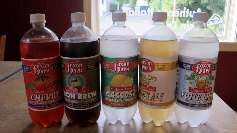 Five liters of Foxon Park soda