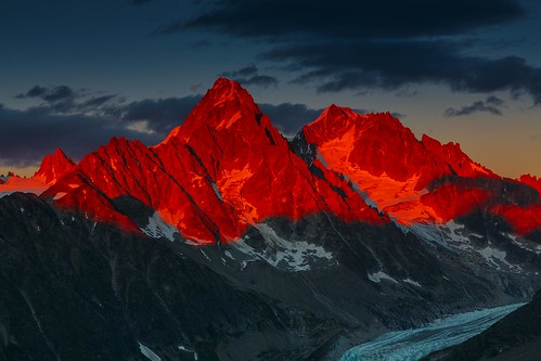 Alpenglow Over the Glacier d'Argentiere, French Alps (Explored)