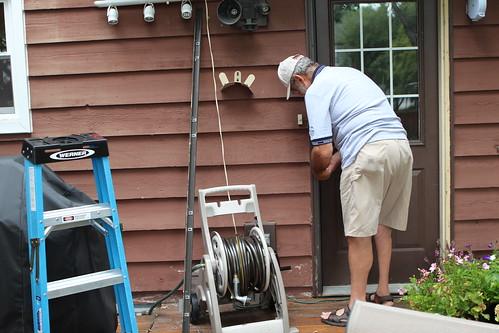 Granpda Installing New Door