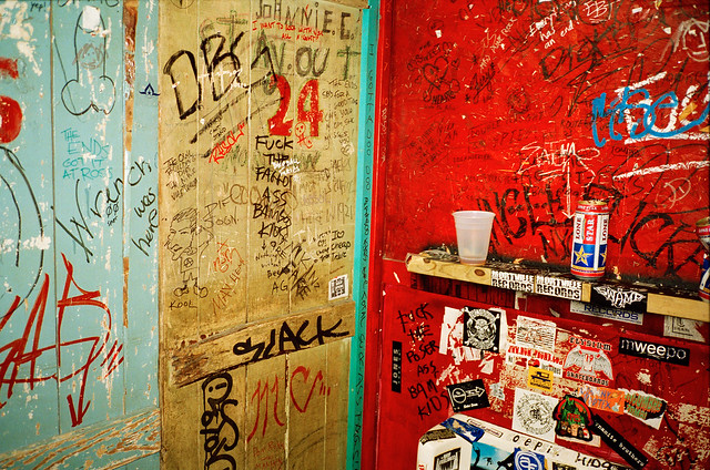 Bathroom of the bar and music venue Beerland, Austin Texas.