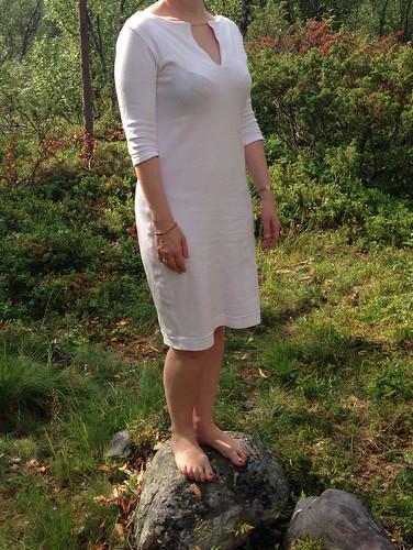 White cotton jersey pencil dress