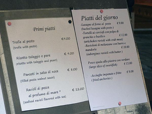 menu dans la rue