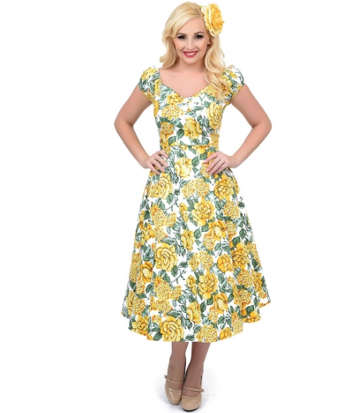 Unique Vintage 1950s Style Yellow Floral Dolores Swing Dress