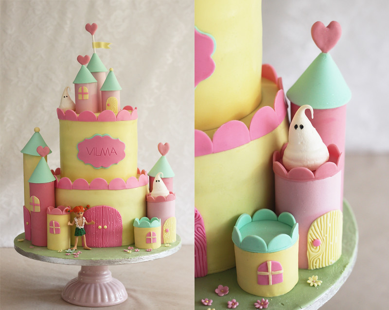yellow castle cake