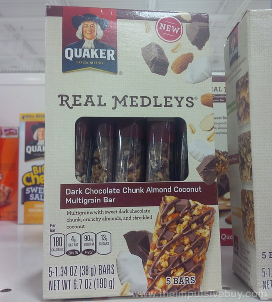 Quaker Real Medleys Dark Chocolate Chunk Almond Coconut Multigrain Bar