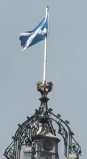 Flag of Scotland flying above Edinburgh