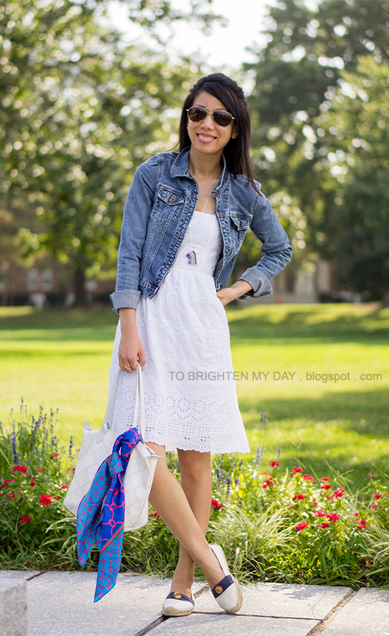 white eyelet dress, chain scarf, espadrilles