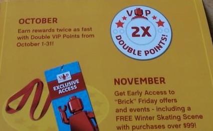 LEGO VIP Promotions October & November 201