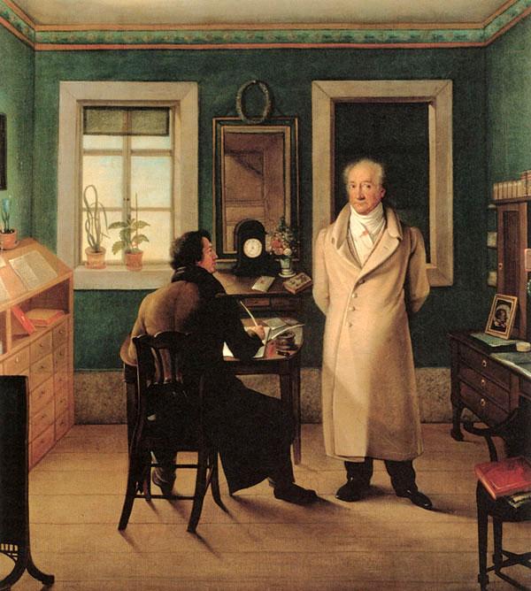 Johann Joseph Schmeller, Goethe seinem Schreiber John diktierend, 1831