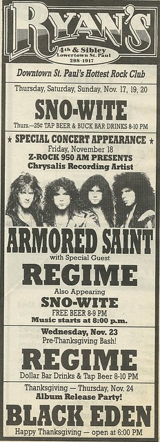 11/18/88 Armored Saint/ Regime/ Sno-White @ Ryan's, St. Paul, MN
