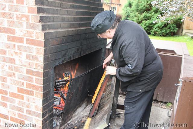 Liscombe Lodge chef smoking salmon.