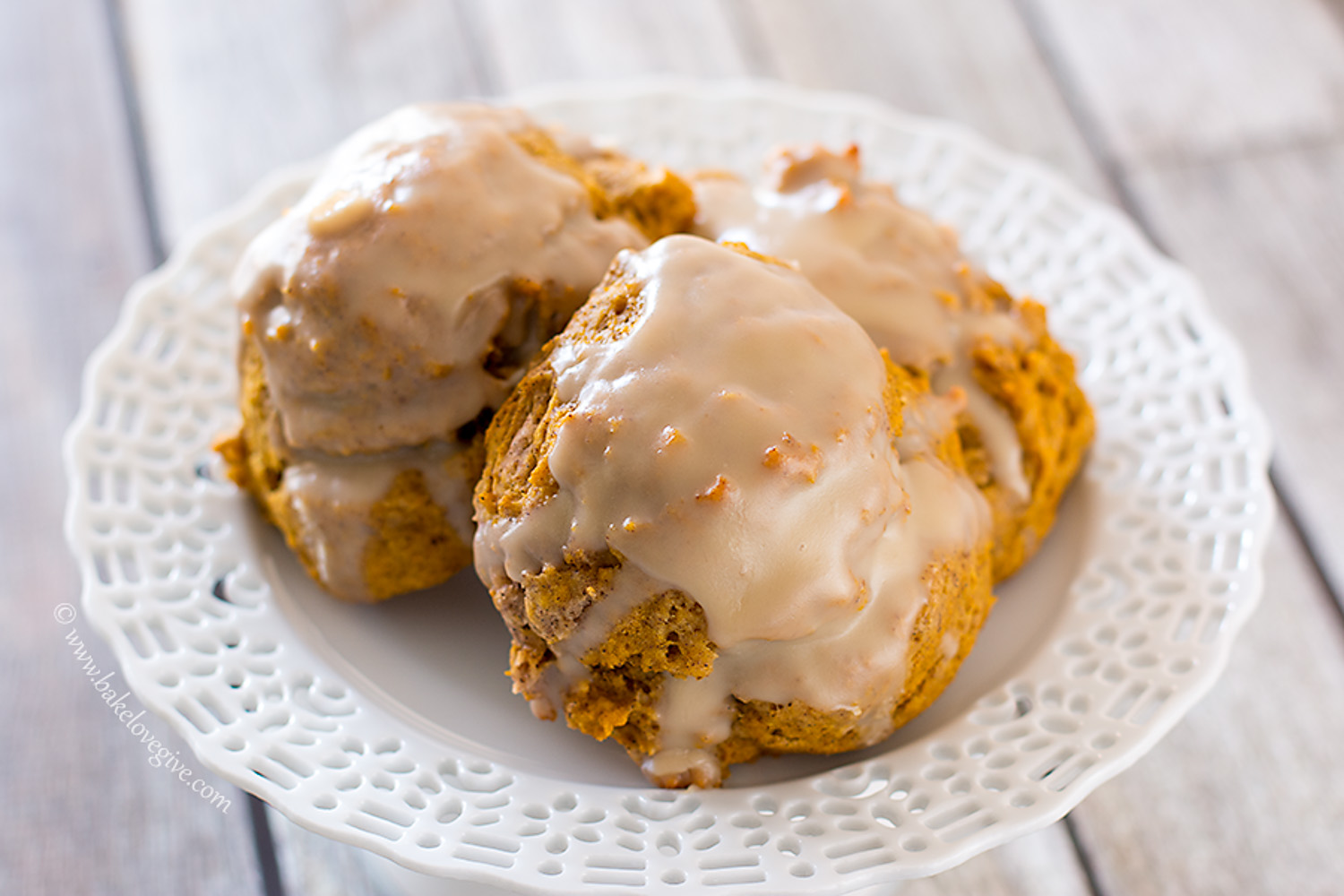 Alice's Tea Cup (NYC) Pumpkin Scones recipe with brown sugar glaze