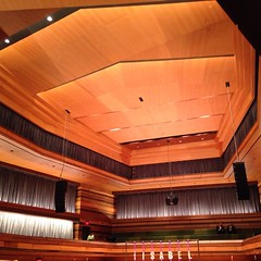 The concert hall again, a stunning room. The ceiling is beautiful. Cannot wait to attend a concert at #theisabel #queensu