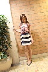 Check ruffle blouse and Marine miniskirt_8